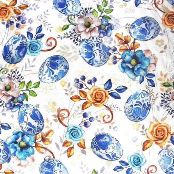 MEISSEN, porcelánmintás, virágos, húsvéti lakástextil dekorvászon