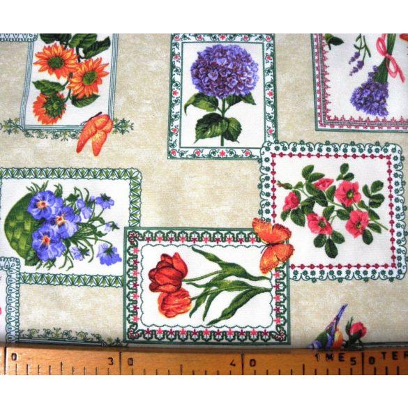 FLORES, keretes virág mintás lakástextil, dekorvászon