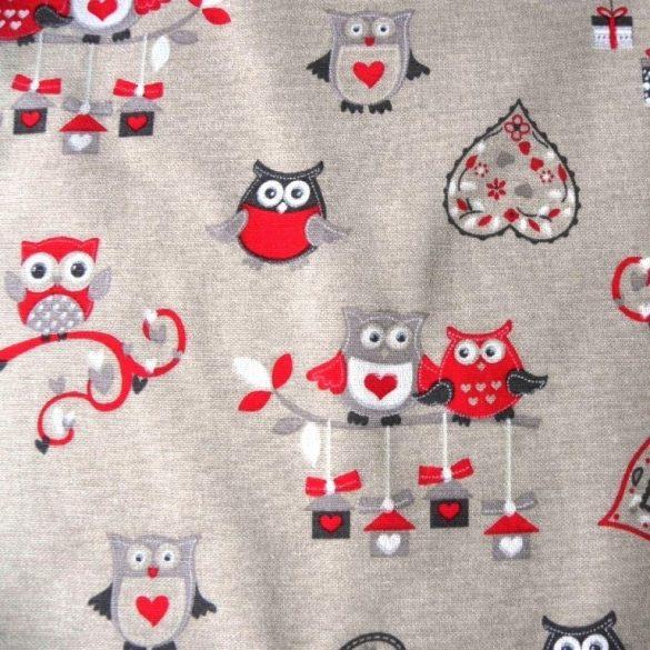 GUFO, bagoly mintás, piros lakástextil, dekorvászon
