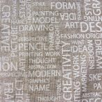 SCRIPT, lenhatású, natúr, szöveges, feliratos lakástextil, dekorvászon