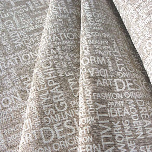 SCRIPT, lenhatású, natúr, feliratos lakástextil, dekorvászon