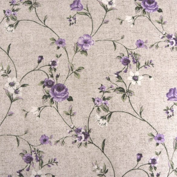 MAXY, lila rózsamintás, lenhatású lakástextil, dekorvászon