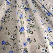 MAXY, kék rózsamintás, lenhatású lakástextil, dekorvászon