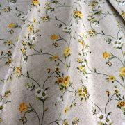 MAXY, sárga rózsamintás, lenhatású lakástextil, dekorvászon