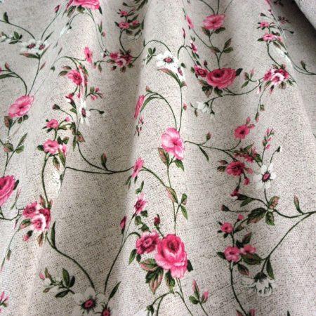MAXY pink rózsamintás lenhatású lakástextil