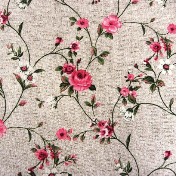 MAXY, pink rózsamintás, lenhatású lakástextil, dekorvászon