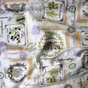 ARLES, oliva, levendula mintás, Loneta lakástextil