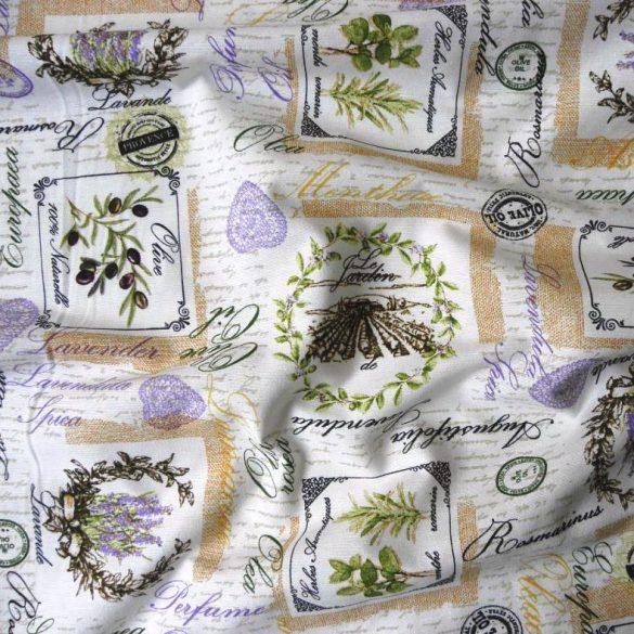 ARLES, olíva, levendula mintás, Loneta lakástextil