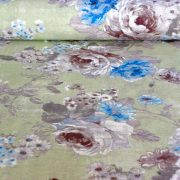 PEONIA, antik zöld, kék rózsamintás lakástextil, dekorvászon, 140 cm és 280 cm szélességben