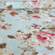 PEONIA, kék rózsamintás lakástextil, dekorvászon, 140 cm és 280 cm szélességben