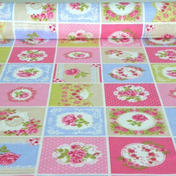 SHELLEY patchwork mintás kék lakástextil, dekorvászon