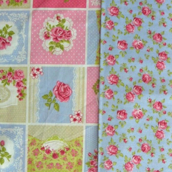 SHELLEY patchwork mintás kék-rózsaszín lakástextil, dekorvászon