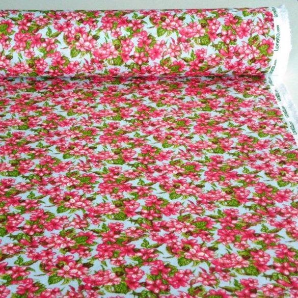 ELENI, kék-rózsaszín kis virágos lakástextil, dekorvászon