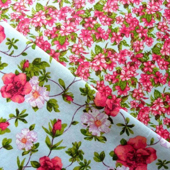 Eleni kék kis virágos lakástextil, dekorvászon