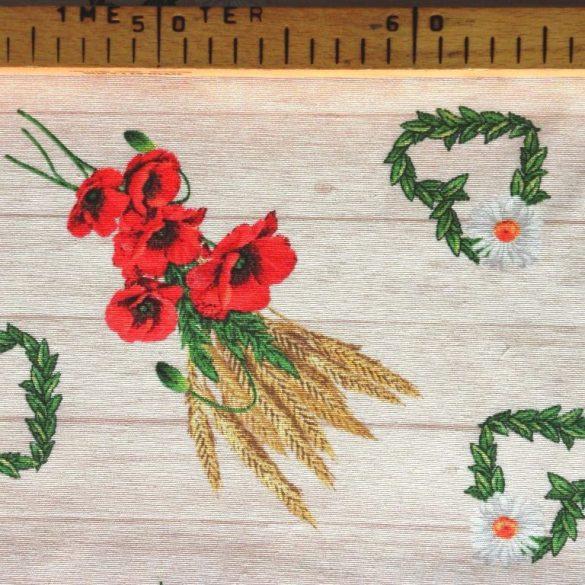 AGRIA,  pipacs, búzakalász mintás lakástextil dekorvászon