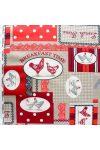 KUKORI, kakasos, patchwork mintás, piros-bordó spanyol lakástextil, dekorvászon