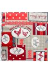 COCK, kakasos, patchwork mintás, piros-bordó spanyol lakástextil, dekorvászon