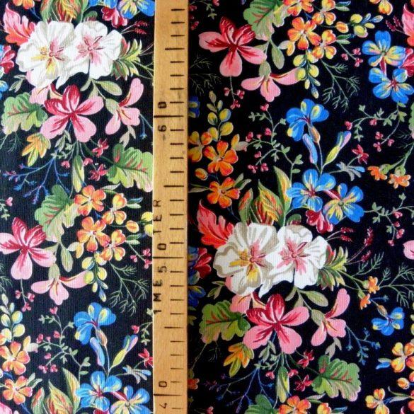 SISSI, fekete, virágmintás lakástextil dekorvászon - maradék darab: 0,83 m