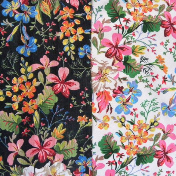SISSI, fekete, virágmintás lakástextil dekorvászon