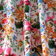 SISSI, fehér, virágmintás lakástextil dekorvászon