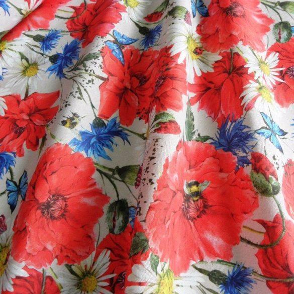 PRADO, pipacs, búzavirág mintás lakástextil dekorvászon - bézs