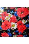 PRADO, pipacs, búzavirág mintás lakástextil dekorvászon - fekete