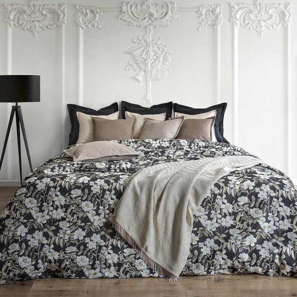 LEIRE, feketésbarna, nagy virágos lakástextil dekorvászon