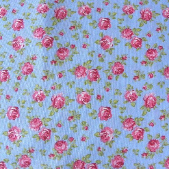 JANIS rózsamintás kék lakástextil, dekorvászon