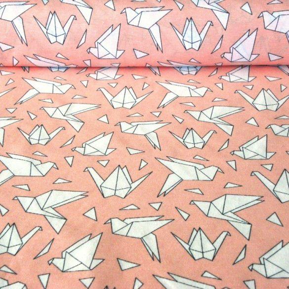 ORIGAMI madár mintás lakástextil, dekorvászon, korallrózsaszín