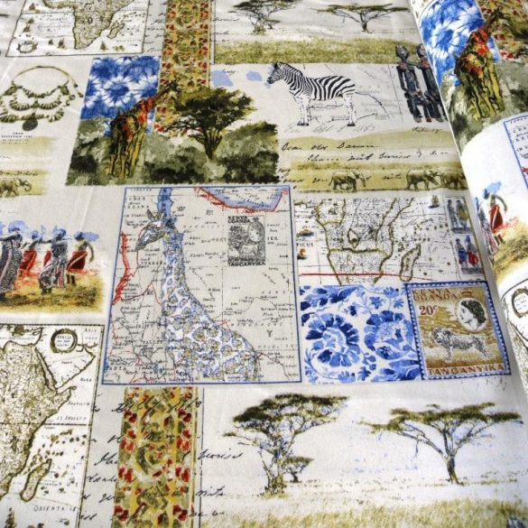 AFRIKA mintás lakástextil dekorvászon, kék