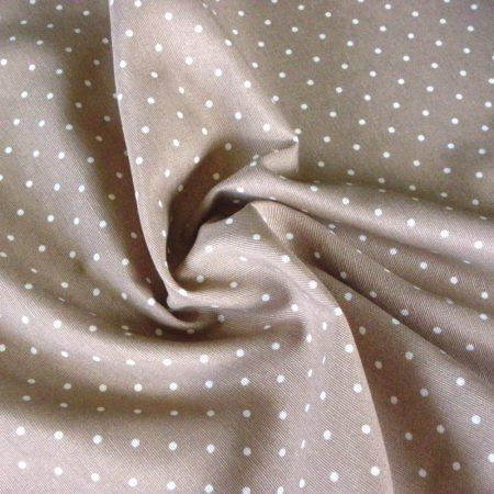 KIDDY drapp pöttyös lakástextil, dekorvászon