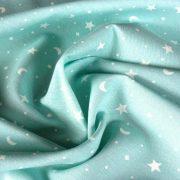 KIDDY menta csillagos-holdas lakástextil, dekorvászon