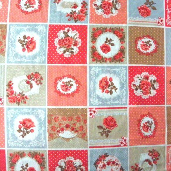 SHELLEY patchwork mintás narancs-bézs lakástextil, dekorvászon