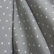 AMORE, apró szívecskés szürke lakástextil dekorvászon