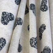 IDALIA, szív mintás lakástextil, dekorvászon, szürke