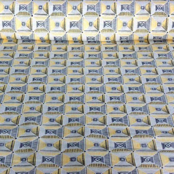 SCOY, négyzetes mintás lakástextil, dekorvászon, mézsárga