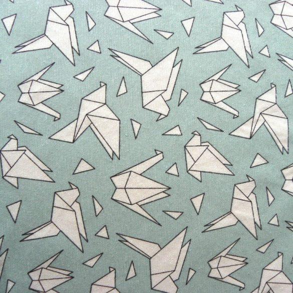 ORIGAMI madár mintás lakástextil, dekorvászon, türkizkék