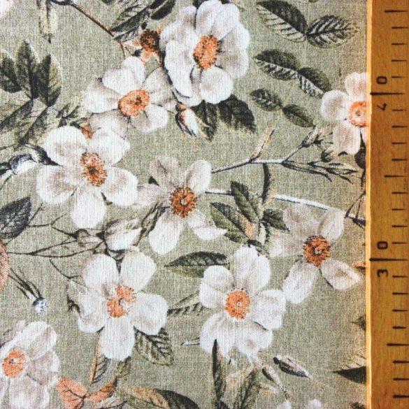 LEIRE, zsálya, nagy virágos lakástextil dekorvászon
