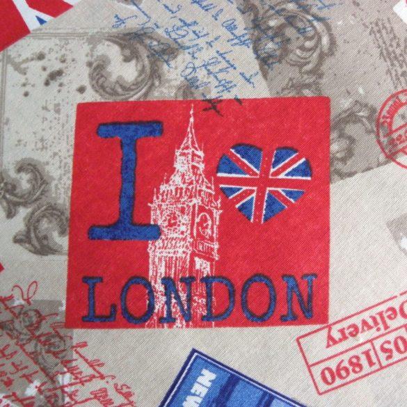 I LOVE London, NY mintás lakástextil, dekorvászon