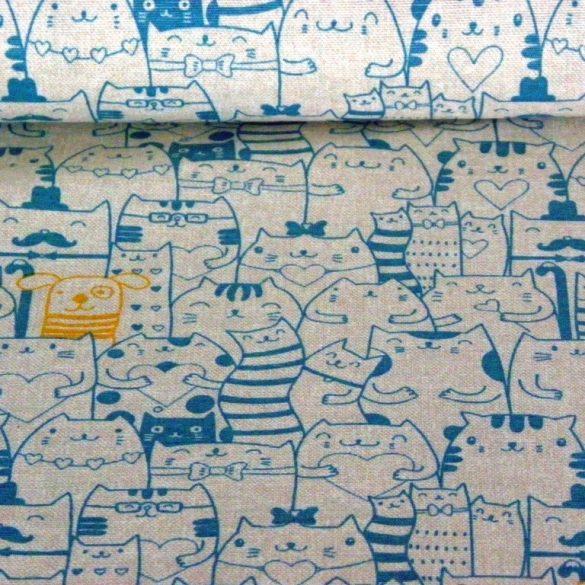 PEEKABOO, türkizkék cica mintás lakástextil dekorvászon