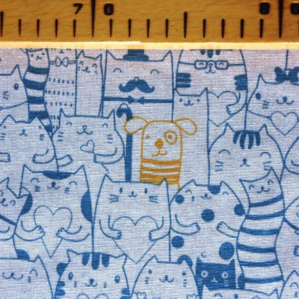 PEEKABOO, türkiz cica mintás lakástextil dekorvászon