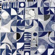 CANI, op art, kutyás mintás lakástextil dekorvászon, kék