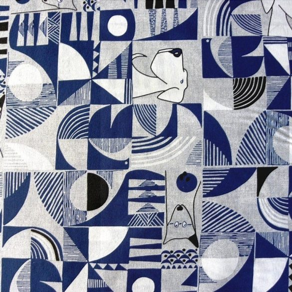 CANI, op art, mintás lakástextil dekorvászon, kék