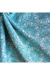 HALAS, csipkemintás lakástextil, dekorvászon, akvamarin. 140 cm és 280 cm széles