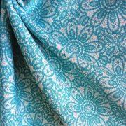 HALASI, csipkemintás lakástextil, dekorvászon, akvamarin. 140 cm és 280 cm széles