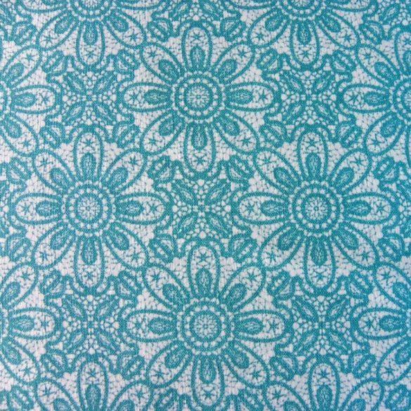 HALAS, csipkemintás lakástextil, dekorvászon, akvamarin