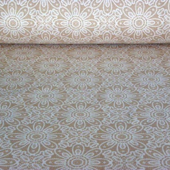 HALAS, csipkemintás lakástextil, dekorvászon, bézs