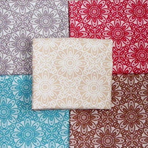 HALASI, csipkemintás lakástextil, dekorvászon, bézs