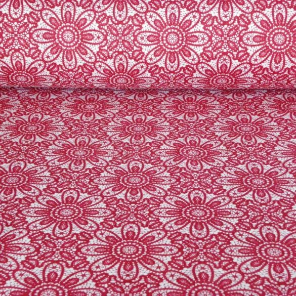 HALAS, csipkemintás lakástextil, dekorvászon, rubin