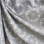 HALAS, csipkemintás lakástextil, dekorvászon, szürke